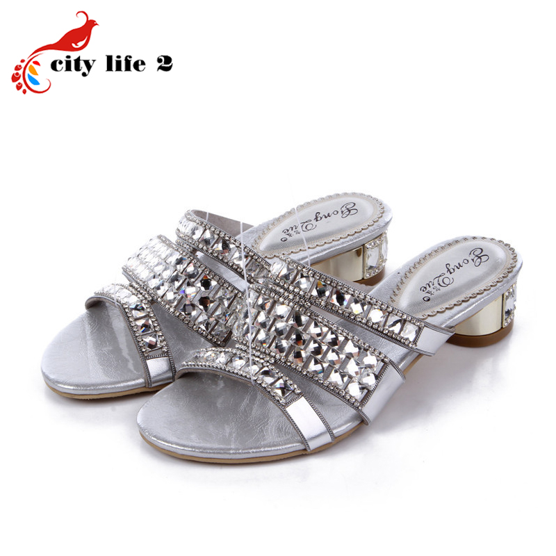 Sheepskin Rhinestone Slippers New 2015 Diamond Female Silver Thick Heel Leather Sandalias Mujer Small Size 33