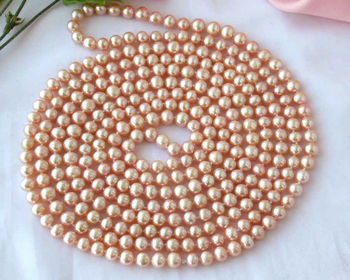 """Z2385 REAL 100"""" 9mm round pink freshwater pearl necklace"""