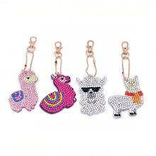 4pcs/set DIY Cute Alpaca Shape Diamond Painting Key Chain Full Drill Rhinestone Car Bag Hanging Pendant Decoration