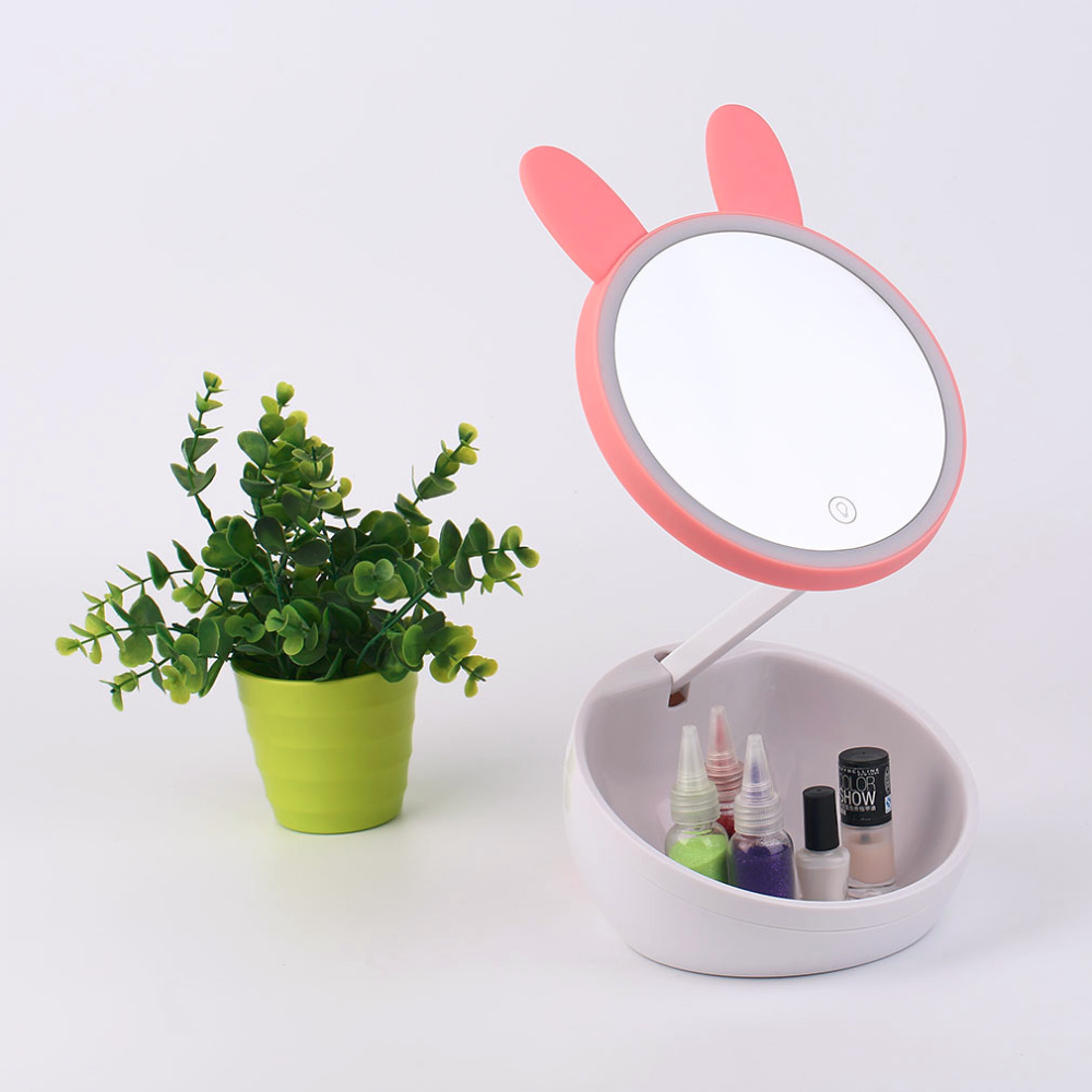 Creative LED Light Makeup Mirror Lovely Pets Shape Creative Storage Cheap Cosmetic Mirror Night Light Mirror with 2 Lights
