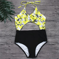 94c7028a0d New Sexy Yellow Backless One Piece Swimsuit Women Padded Swimwear Bandage  Solid Bikini Bathing Suit Monokini Swim Wear