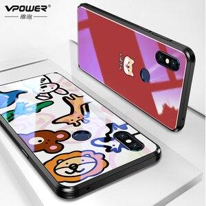 Image 2 - Чехол слайдер для Xiaomi mi Mix 3, чехол с рисунком из стекла, противоударный чехол Vpower из закаленного стекла для xiaomi mi mix3 mix 3, Роскошный чехол