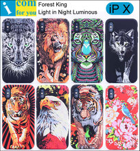 Parrot Leopard Eagle Peacock Tiger Elephant Lion Wolf Cover Case For iPhone X Forest King Light Glow in Dark Night Luminous
