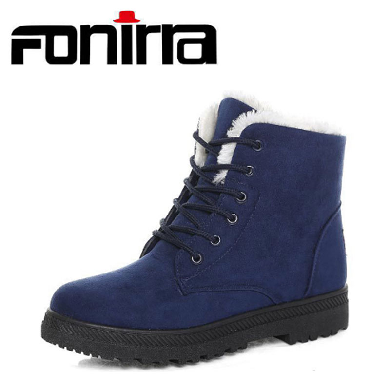 FONIRRA 2017 New Fashion Snow Boots for Women Lace Up Flock Ankle Boots Warm Winter Flat Shoes Botas Mujer Plus Size 44 225