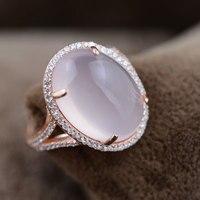 Fnj 925 серебряный розовый кварц кольцо для Для женщин jewelry натуральный розовый камень Новая мода 100% чистый S925 Серебряное кольцо США размеры 6-8