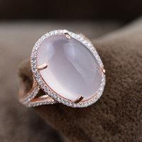 Fnj 925 فضة روز كوارتز الدائري للنساء مجوهرات الطبيعية الوردي حجر الموضة 100% الفضة النقية s925 خاتم الولايات الحجم 6-8