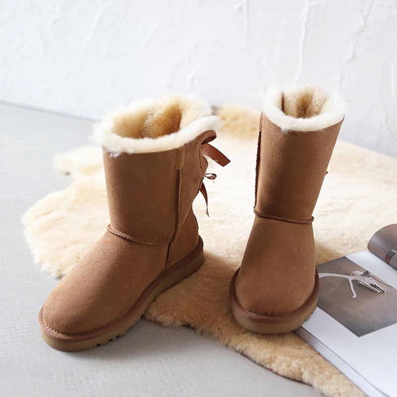 Botas Genuino Cuero Nieve Zapatos Impermeable Mujeres Las Del 100 chestnut De Nueva Mujer Llegada Black Real Invierno grey Classic Fur Para Zurriago x6OznWY8Wq