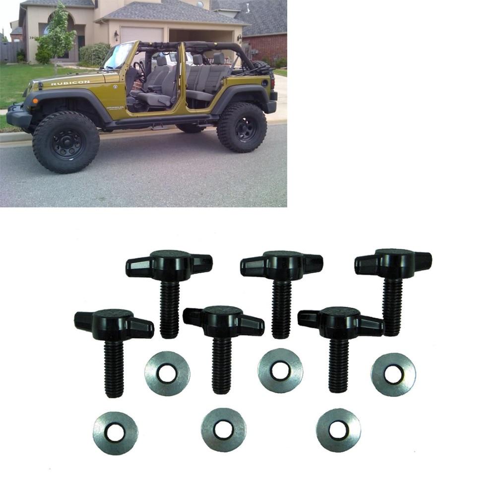 6 pcs/ensemble Hard Top Rapide Retrait Vis Fixation Kit Pour Jeep Wrangler JK 2007-2017 Accessoires Tee Boutons Vis écrou Kits
