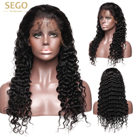 SEGO 360 Lace Frontal Wig Pre Plucked With Baby Hair Brazilian Deep Wave Wigs For Black Women Curly Lace Front Human Hair Wigs