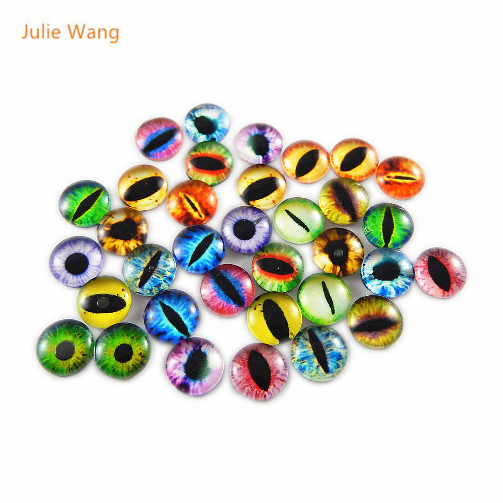 Julie Wang 50PCS Round 6MM 8MM 10MM Glass Dragon Lizard Frog Vivid Eyes Handmade Cabochon Not