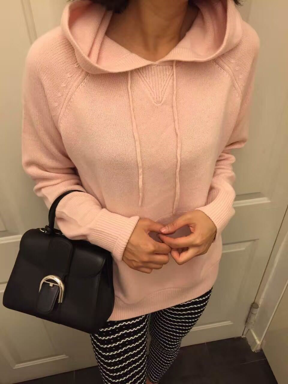 specials cashmere wool add thick womens hooded sweatshirts tie-collar pullover coat solid color retail wholesale M/L/XL