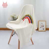 Modern Style White With Rainbow Knitted Blanket For Bed Portable Car Air Conditioner Pure Cotton Knitted