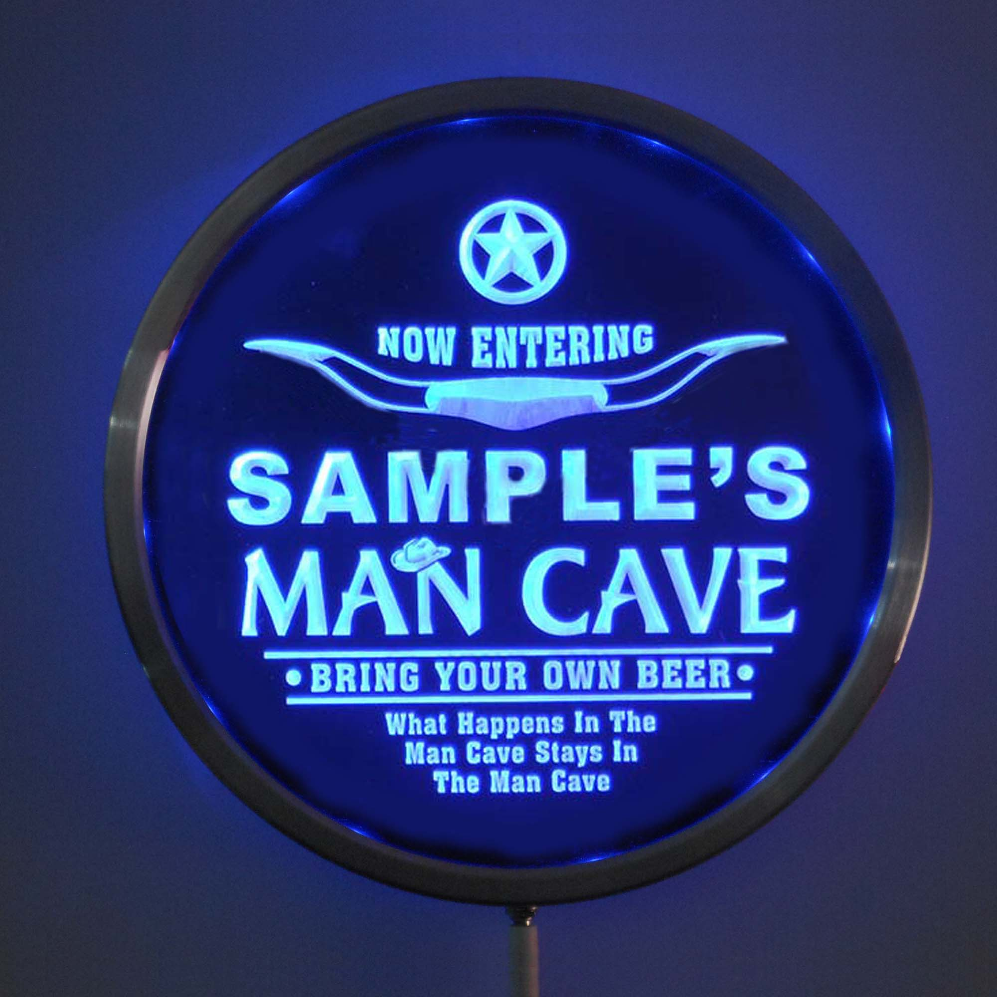 rs-pb-tm Custom LED Neon Round Signs 25cm/ 10 Inch - Personalized MAN CAVE Room Sign RGB Multi-Color Remote Wireless Control