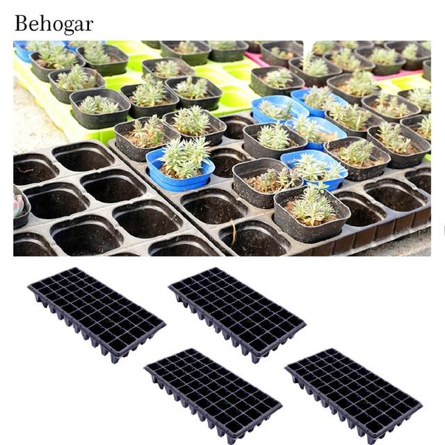Behogar 4pcs 50hole Plastic Cells Seedling Starter Trays Plant Flower Pots Nursery Grow Box Tray Plug