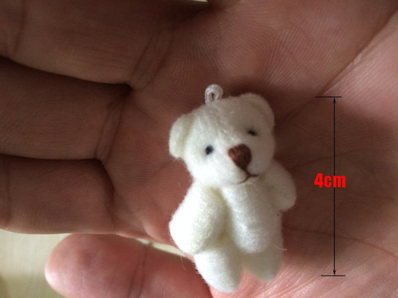 10pc 4colors 4.0cm  mini Joint Teddy Bear Plush Stuffed  Wedding BOX toy doll