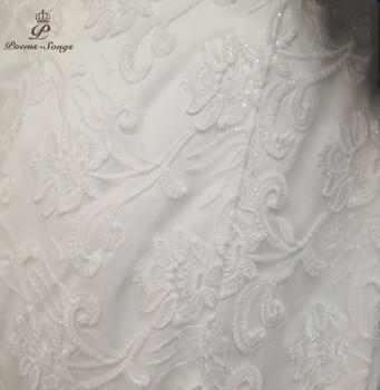 PoemsSongs  2019 new style Boat Neck beautiful sequined lace wedding dress for wedding Vestido de noiva Mermaid wedding dresses 6