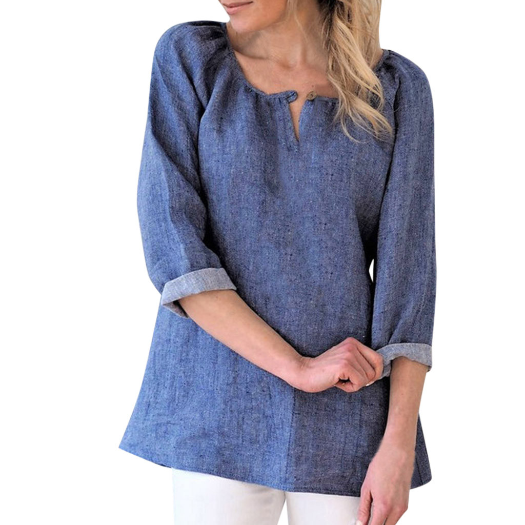 SAGACE Fashion Women   Blouse   Solid Casual Cotton Linen V-Neck   Blouse     Shirt   Tunic Tops Long Sleeve Women's   Shirt     Blouse   Top Summer