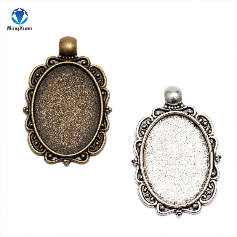 MINGXUAN 10pcs Antique Bronze Flowers Style Cameo Cabochon 18x25mm Base Setting Charms Pendant Necklace Findings