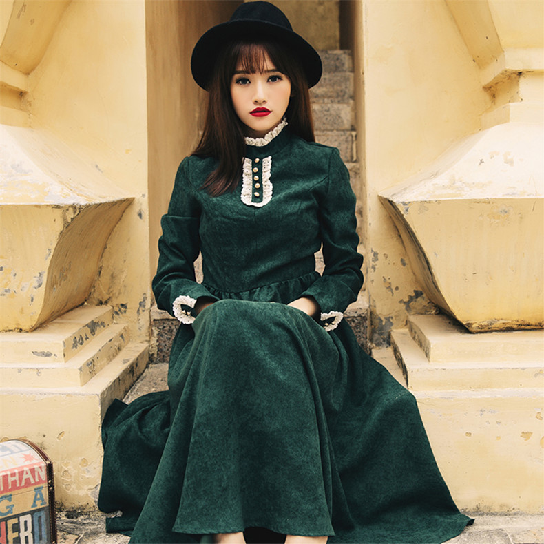 High Quality Explosions Leisure  Retro Matching  Dresses Women Spring Autumn Casual  Dress