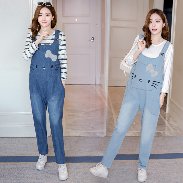 47efe15522e3b Maternity Jumpsuits Jeans Autumn Winter Overalls for Pregnant Women Denim  Embroidered Cat Loose Pregnancy Clothes Pants