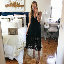 Купить с кэшбэком High Street Boho 2019 Blue&Black Lace Dress Summe Women Elegant Fit and Flare Party Beach Dresses