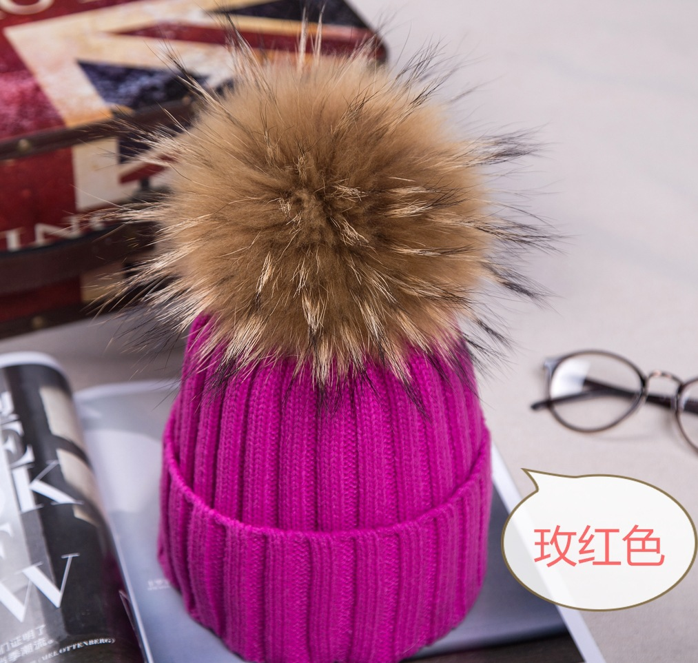 2016 Hot wholesale wool hat knitted cotton brand mink fur ball hats Pom poms winter hat