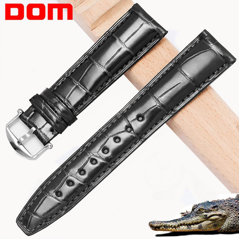 DOM Real Alligator Watch Strap Genuine Leather Watch Bands For Men Or Women Watch Accessories 20mm 21mm 22mm Black Watch Strap