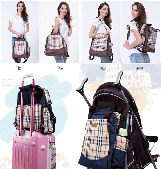Mummy Maternity Diaper Nappy Bag Lattice Backpack Baby Shoulderbag