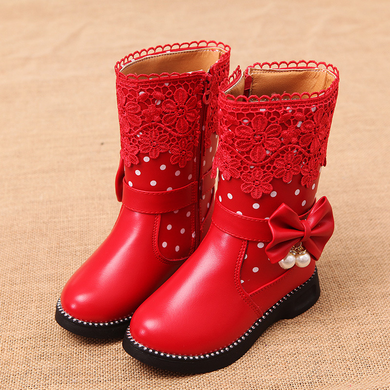 NEW Fashion Boots for Girls Kids waterproof leather high ...