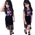 2016 New kids девушки мода набор летняя одежда набор детей повседневная одежда девочек хлопка костюм устанавливает детская одежда бесплатная доставка