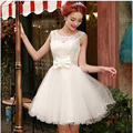 2017 new arrival short homecoming dress women formal gown elegant for party with bow modest a line tulle dress white in stock