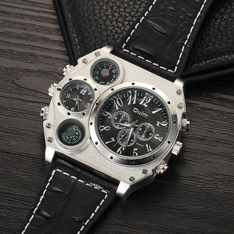Image 5 - Oulm Мужские спортивные часы, уникальные дизайнерские кварцевые часы с несколькими временными зонами, повседневные наручные часы с большим лицом, мужские военные часыСпортивные часы   -