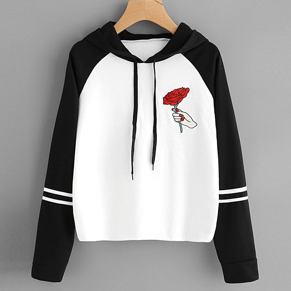 2017 Women Fashion Rose Tops Black Hooded Pullover Drawstring Sweatshirt Y83023