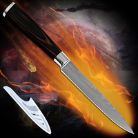 Handmade Kitchen Knives 5 Inch Utility Knife Damascus Pattern Flowing Sand Wave With Color Wood Handle