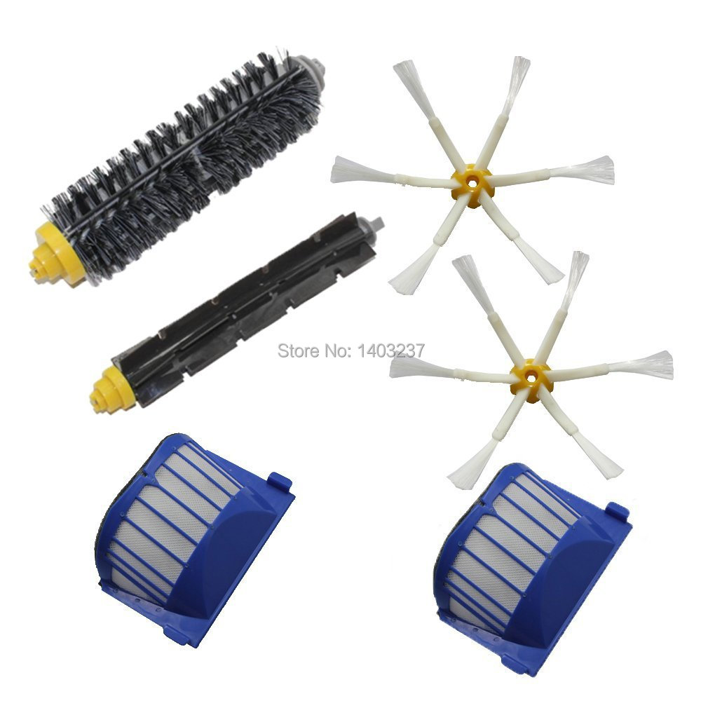 2 x Aero Vac Filter Bristle Brush Flexible Beater Brush Side Brush For iRobot Roomba 600 Series (620 630 650 660 680) aero vac filter bristle brush flexible beater brush 3 armed side brush tool for irobot roomba 600 series 620 630 650 660