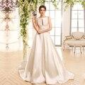 Элегантный Кот Атласная Свадебное Платье Замочная Скважина Вернуться Линия Женщины Свадебные Платья Кружева Империи Свадебные Платья Простые Свадебные Платья PA03