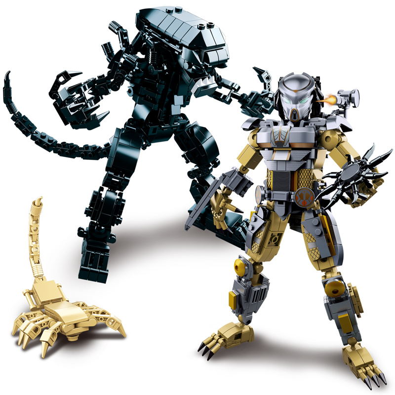 Adaptable Mech Aliens Vs Predator Movie Figures Building Blocks Brick Toys For Children Birthday Gifts Compatible With Legoings Friends