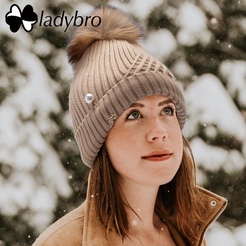 Ladybro Winter Hat For Women   Beanie   Cap Knit Thick Velet   Skullies     Beanies   Pearl Butterfly Diamond Real Fur Pom Pom Hat Female