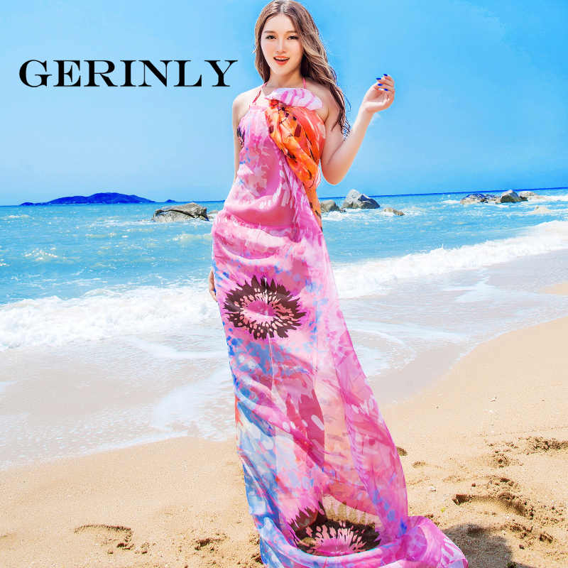072821c48e ... GERINLY 140*190cm Chiffon Sarong Scarf Summer Popular Design Large Size  Sheer Woman Shawl Scarves ...