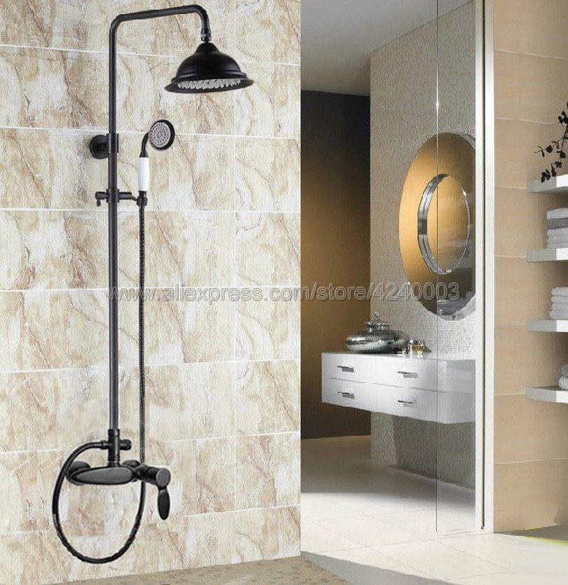 Black Bathroom Shower Faucet Set 8 Rain Shower Head + Hand Sprayer Oil Rubbed Bronze Krs432