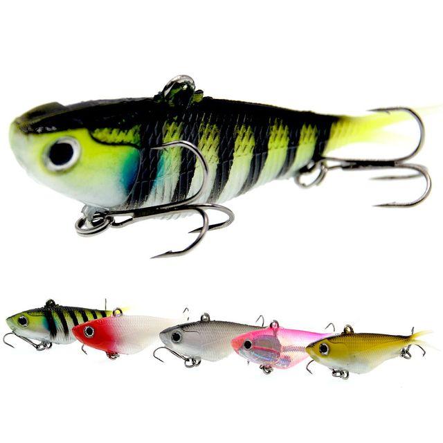 WLDSLURE Señuelos de Pesca, 95mm, 20g, señuelos de vibración suave, cebo con cabeza plomada de plástico suave