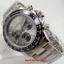 Новое Поступление Топ бренд класса люкс 39 мм PARNIS серый циферблат сапфировое стекло сплошной полный хронограф кварцевые мужские часы P1246