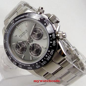 цена new arrive Top Brand Luxury 39mm PARNIS gray dial sapphire glass solid full Chronograph quartz mens watch P1246 онлайн в 2017 году