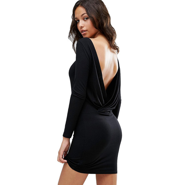 Fashion Women Dress Sexy Backless Party Dress Black Long Sleeve