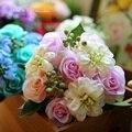 Ramos de novia de seda artificial flores de la boda de diy jardín decoración vivid rose fake hoja ikebana ramo de floricultura di nozze