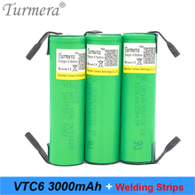 original battery 18650 3000mah vtc6 US18650VTC6 30a 18650 battery for screwdriver soldering weld for sony power bank battery