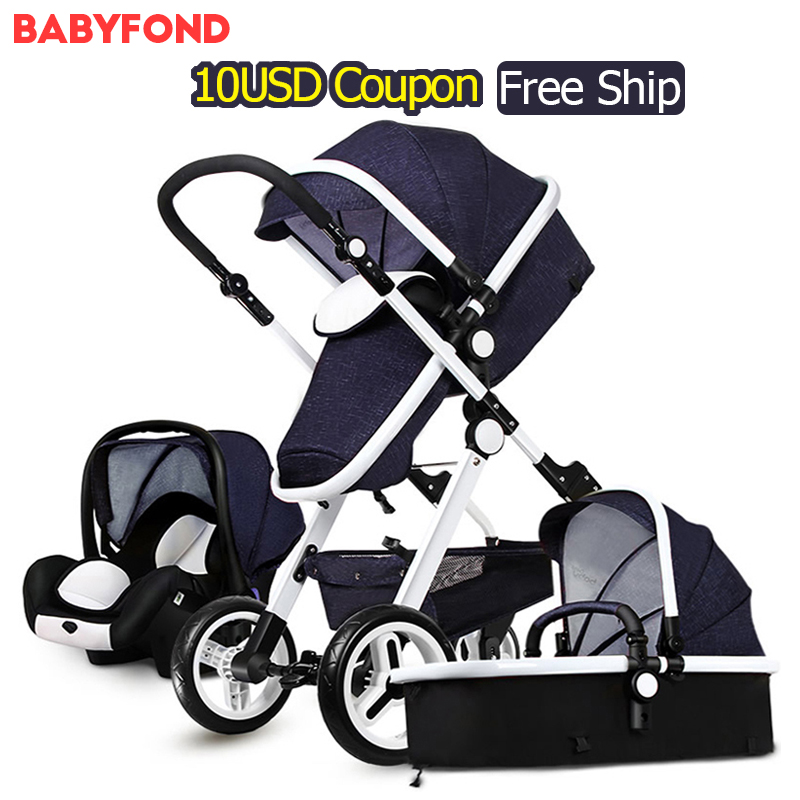 PU Material Gold frame Baby stroller two-way suspension Pram folding newborn baby stroller centenarian 3 in 1 European Carriage
