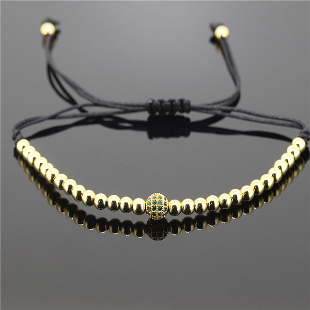 1 pz Marca Anil Arjandas Uomo Bracciali 6mm Brass Beads DELLA CZ Briading Macram