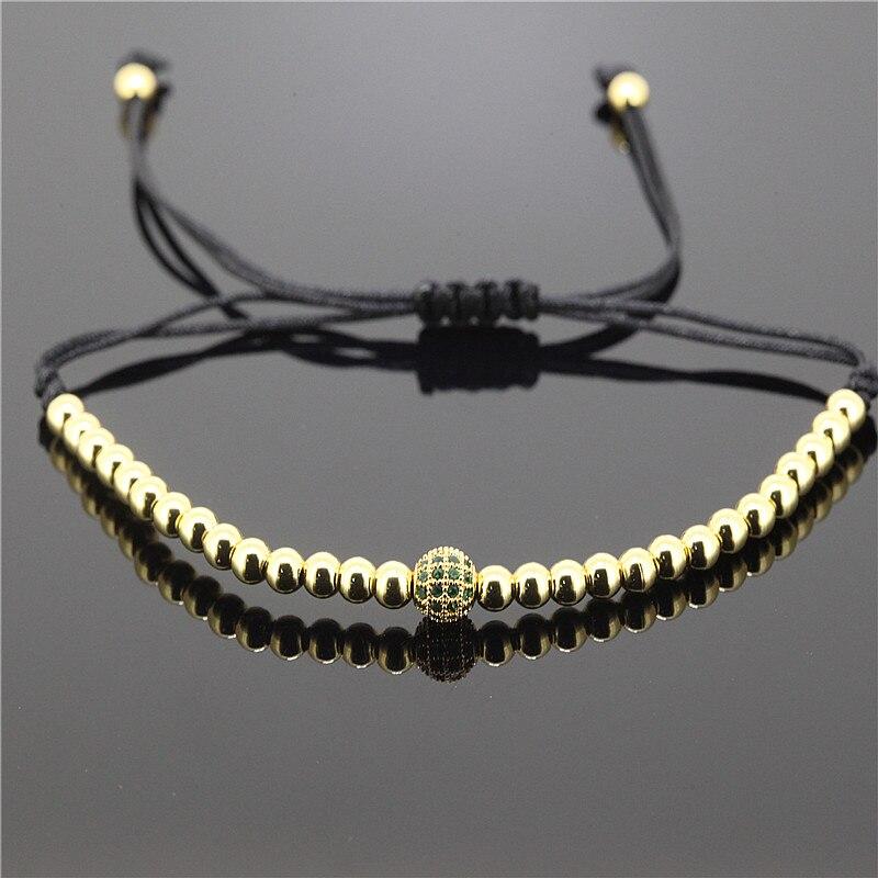 1pc Brand Anil Arjandas Men Bracelets 6mm Brass Beads Pave CZ Briading Macrame Bracelet for Men Charm Bracelet A-0105