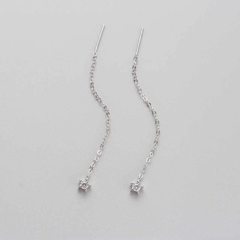 INZATT Vintage Nyata 925 Sterling Silver Star Zircon Menjuntai Drop Earrings Rumbai Garis Telinga Trendy Perhiasan Untuk Wanita Hadiah Pernikahan